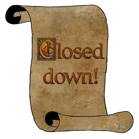 3D Wood Type Closed Down Notice on Vintage Paper Scroll Stock Photo - 17008033