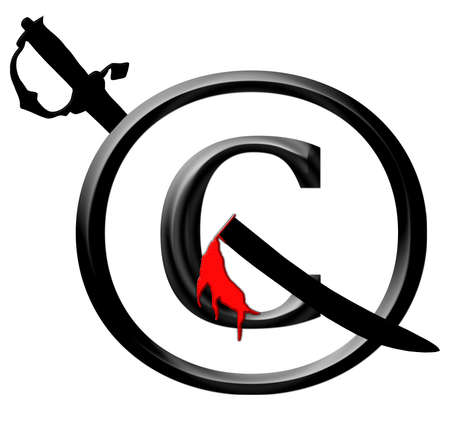 3D Black and Red Copyright Infringement Sword Through Icon Notice Stock Photo - 17007988