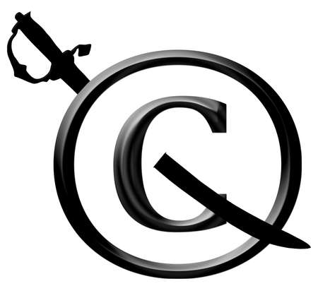 3D Black Copyright Infringement Sword Through Icon Notice Stock Photo - 17007987