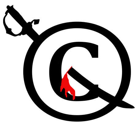 Black and Red Copyright Infringement Sword Through Icon Notice Stock Photo - 17007985