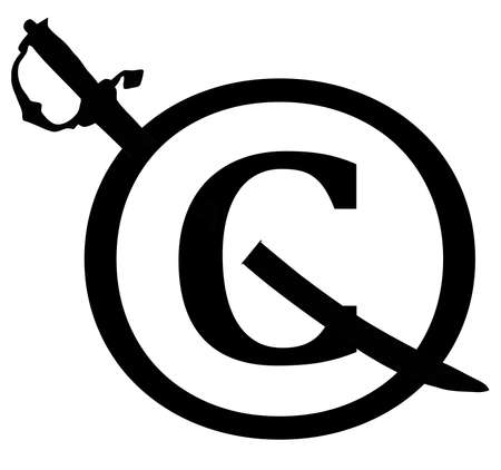 Black Copyright Infringement Sword Through Icon Notice Stock Photo - 17007976