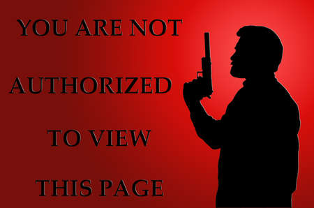 infringement: Threatening Not Authorized to View Page Internet Notice on Red Stock Photo