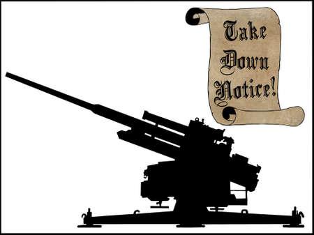 humoristic: Humor�stico Take Down Aviso Scroll con Anti Aircraft Gun Foto de archivo