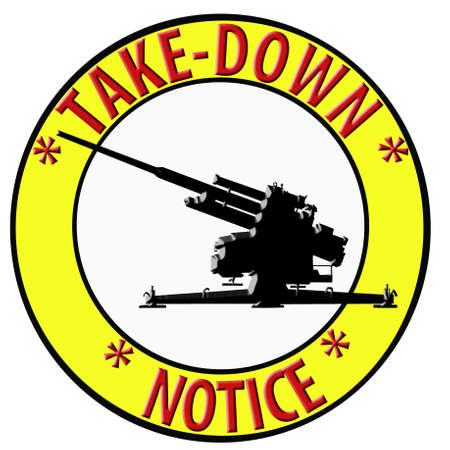 Humoristic 3D Take Down Notice with Anti Aircraft Gun