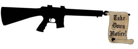 humoristic: Humor�stico Take Down Aviso Scroll con rifle autom�tico Foto de archivo