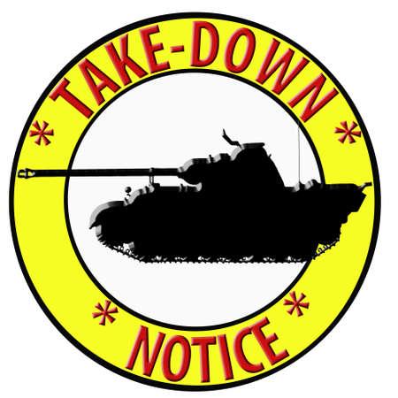 humoristic: Humor�stico 3D Take Down Aviso con tanque Foto de archivo