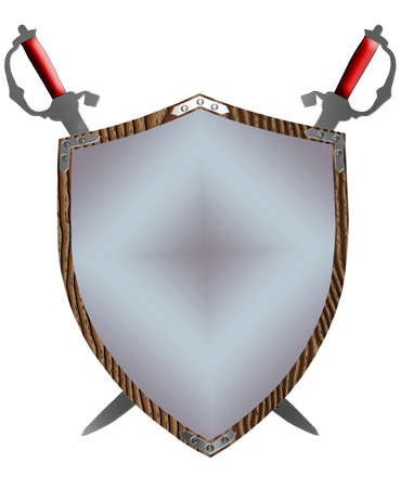 Isolated 3D 16th Century War Shield and Swords photo