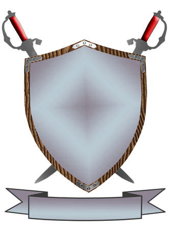 Isolated 3D 16th Century War Shield Swords and Banner photo