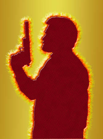 Flaming Assassin with Pistol with Silencer on 3D Gold Background Stock Photo - 17049441