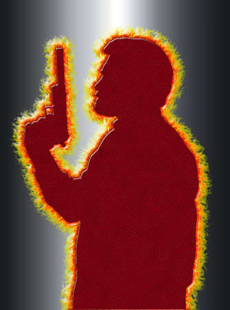 Flaming Assassin with Pistol with Silencer on 3D Black Background photo
