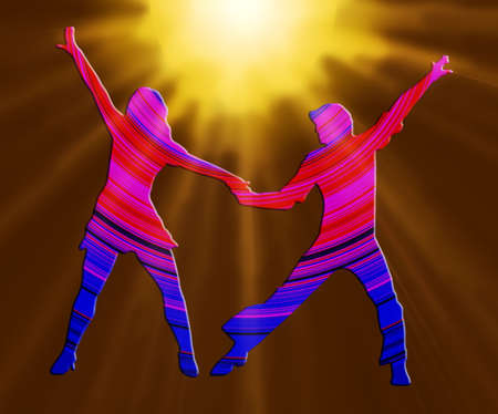3D Color And Spotlight Dancing Couple 70s Dance Pose photo