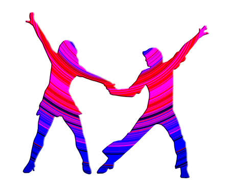3D Color Dancing Couple 70s Dance Pose photo