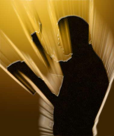 predicador: Lectura de la Biblia Predicador radiante con el dedo levantado