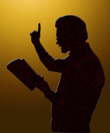 predicatore: Lettura Predicatore da Bibbia con alzate Cielo dorati