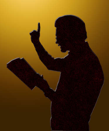 Preacher Reading from Bible with Raised Finger Golden Heaven
