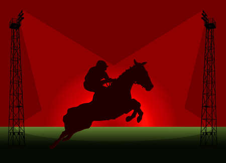 Show Jumping Tower Flood Light Promotional Poster Illustration illustration