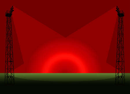 Green Field in Red Sunset with Flood Lights Template