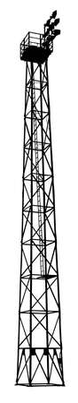 high detailed: Isolation of Detailed Silhouette of a Sports Field Flood Light Tower Illustration