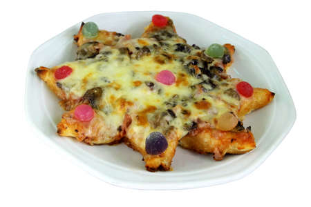 kiddies: Kiddies Star Pizza with Sweets on Top Stock Photo