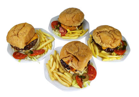 Isolated Four Cheese Burgers Combo on White Plates Stock Photo - 17360597