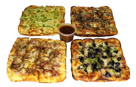 Isolated Four Square Pizza Combo with Sauce in Container Stock Photo - 17432155