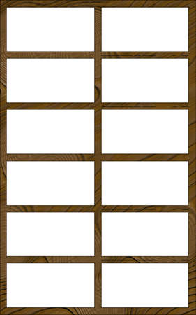 contoured: Isolated Single Layered Contoured Wooden Twelve Window Narrow Frame