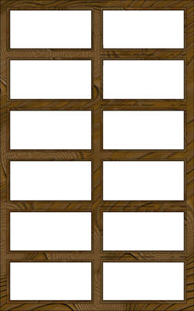 Isolated Double Layered Contoured Wooden Twelve Window Frame photo