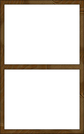 contoured: Isolated Single Layered Contoured Wooden Two Window Wide Frame Stock Photo