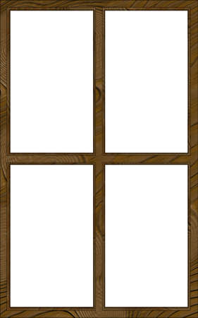contoured: Isolated Double Layered Contoured Wooden Four Window Frame