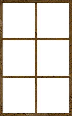 contoured: Isolated Single Layered Contoured Wooden Six Window Narrow Frame