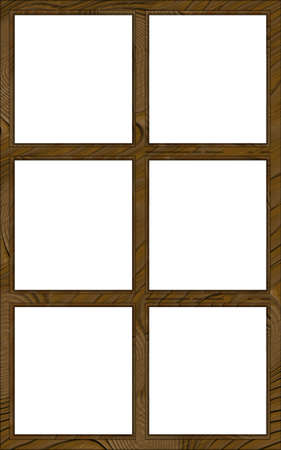 contoured: Isolated Double Layered Contoured Wooden Six Window Frame Stock Photo