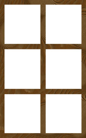 Isolated Single Layered Flat Wooden Six Window Wide Frame Stock ...