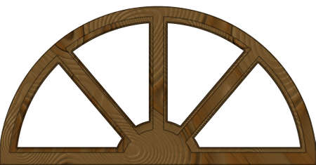 windows frame: Isolated Double Layered Wide Arched Wooden Window Frame