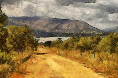rustenburg: Gravel Road Leading to Olifantsnek Dam Rustenburg South Africa Oil Painting