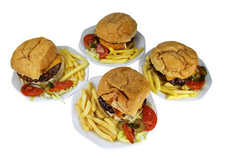 patties: Isolated Four Cheese Burgers Combo on White Plates VB