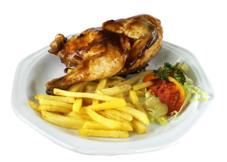 grilled vegetables: Isolated Half Chicken and Fries on White Plate VB