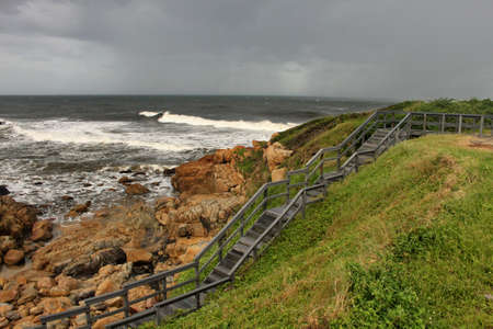 Picture of Wooden Steps in Storm over Sea photo
