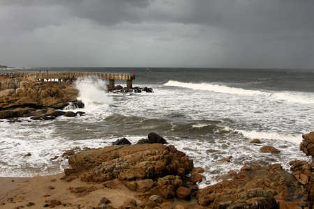 Picture of Stormy Sea Weather at Concrete Jetty photo