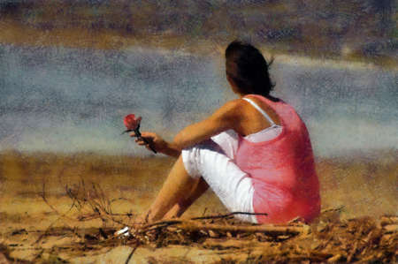 Pink Woman with Rose Sitting Alone on Beach Pastels photo