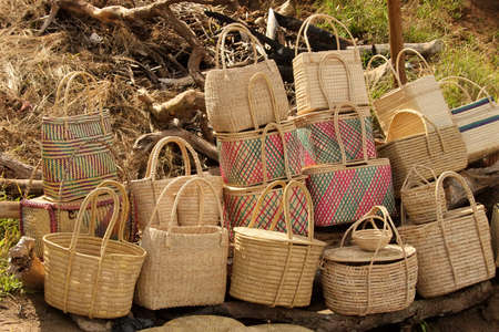 Close-up Picture of Hand Woven Cane Baskets for Sale photo