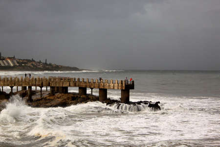 kwazulu natal: Picture of Stormy Sea Waves and Weather at Concrete Jetty