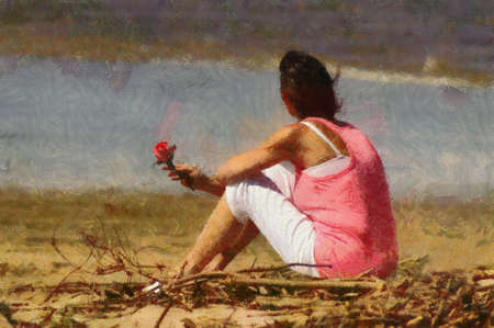 longing: Pink Woman with Rose Sitting Alone on Beach Painting Stock Photo