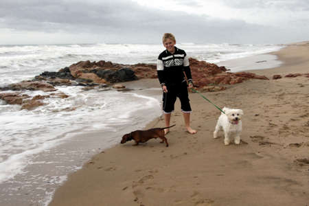 Boy Taking His Dogs for First Stroll on Beach photo