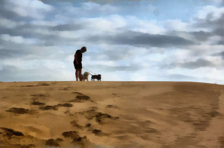 Painting of Boy Standing with Dogs On Dune photo