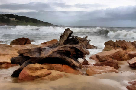 turbulent: Painting of Large Wood Stump on Stormy Beachfront