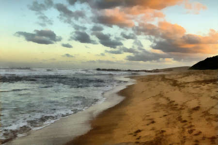 kwazulu natal: Painting of Seascape with Setting Sun on Clouds  Stock Photo