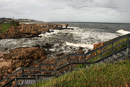 kwazulu natal: 3D Image of Wooden Steps and Jetty in Stormy Weather