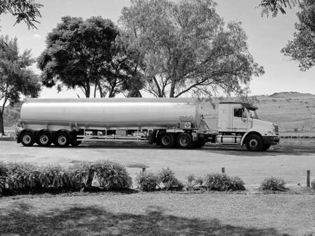 18 wheeler: Black and White Picture of a Large 18 Wheeler Petrol Tanker Truck