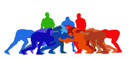 scrimmage: Best Color Sport Silhouette Isolation - Rugby Full Scrum Illustration