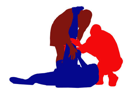 cramping: Best Color Sport Silhouette Isolation - Rugby Injured Player Illustration